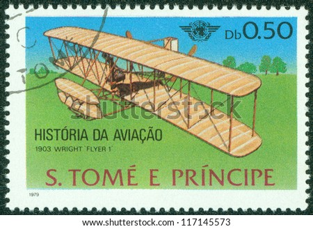 GUINEA - CIRCA 1979: A stamp printed in Republic of GUINEA, shows plane wright Flyer I, 1903, circa 1979 - stock photo