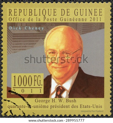 GUINEA - CIRCA 2011: A stamp printed in Republic of Guinea shows Richard Bruce Dick Cheney (born 1941), politician and businessman, series George H.W. Bush forty-first President of the US, circa 2011  - stock photo