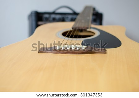 guitar, amp and mic - stock photo
