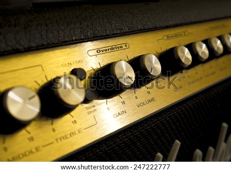 Guitar amp close-up - stock photo