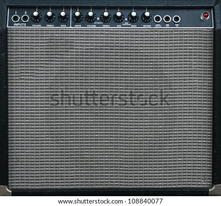 guitar amplifier background - stock photo