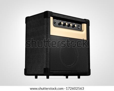 Guitar amplifier. On perspective - stock photo