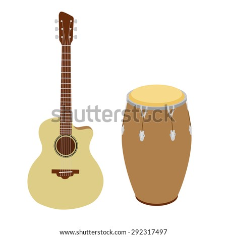 Guitar and conga drum raster version - stock photo