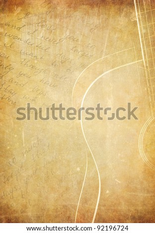 guitar and music note on old paper parchment background texture - stock photo