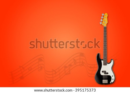 Guitar and notes on hurma background - stock photo
