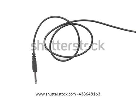 Guitar audio jack with black cable isolated on white background - stock photo