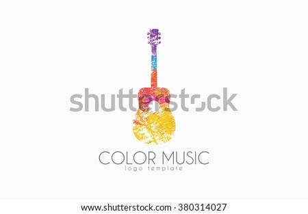 Guitar. Colorful logo. Rainbow guitar. music logo. Creative logo - stock photo