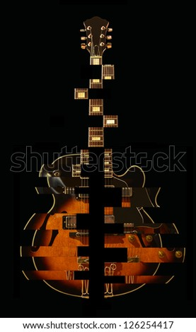 Guitar falling apart / Jazz guitar / Hollow body electric guitar / Guitar / Vintage guitar - stock photo