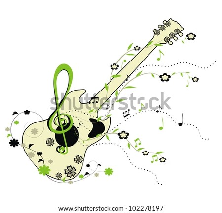 Guitar - green floral  ornament - stock photo