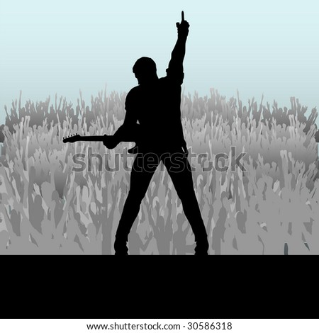 Guitar Hero Bitmap Background - stock photo