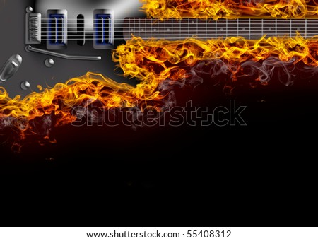 guitar in flames - stock photo