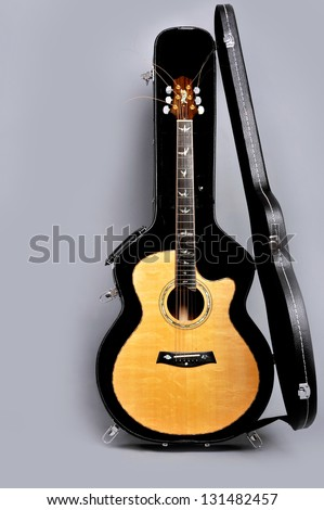 guitar in its case - stock photo