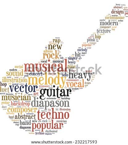 Guitar info-word cloud - stock photo