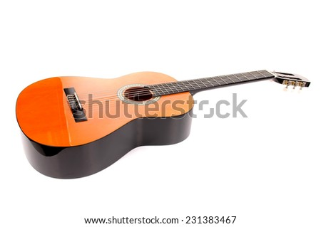 guitar isolated in white background - stock photo
