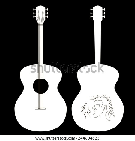 guitar isolated on black, editable - stock photo