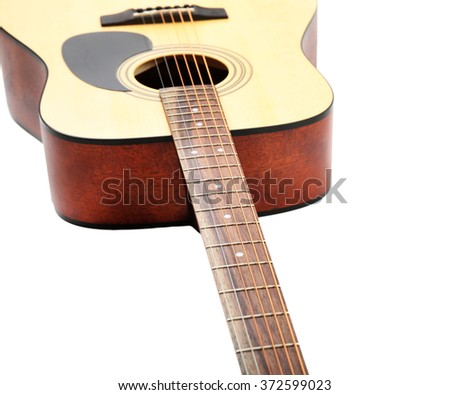 Guitar isolated on white - stock photo