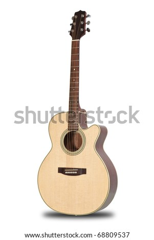 Guitar isolated on white back ground - stock photo