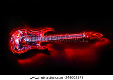guitar made with light painting - stock photo