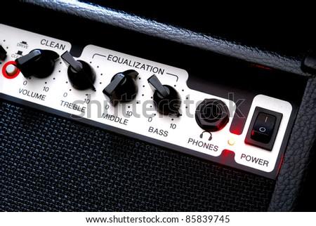Guitar music amplifier close-up - stock photo