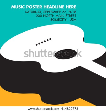 Guitar musical template with space for your type - stock photo