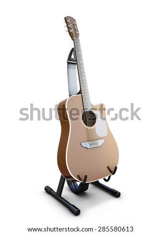 Guitar on a stand isolated on white background. 3d illustration. - stock photo