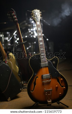 Guitar on stage - stock photo