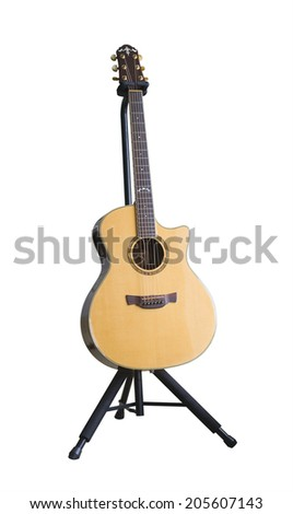 Guitar on stand - stock photo