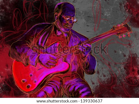 Guitar player  - A hand drawn illustration of an old stager playing guitar in the night club - Full sized hand drawing (original). - stock photo