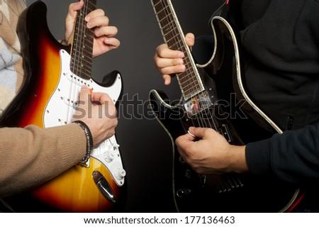 guitar players - stock photo