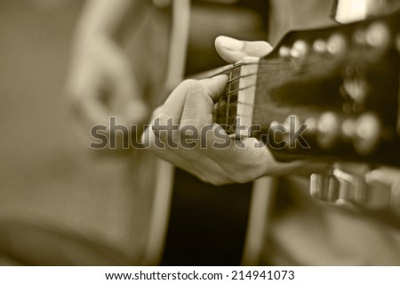 guitar playing  - stock photo