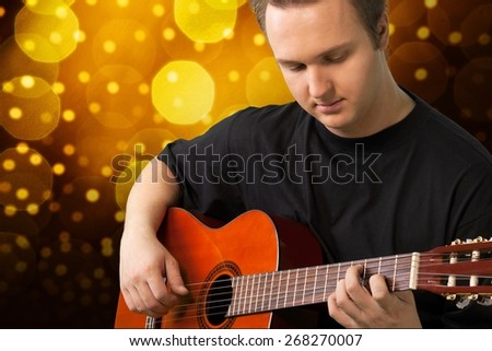 Guitar, Playing, Musician. - stock photo