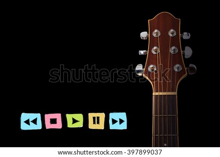 guitar with radio player button sign  - stock photo