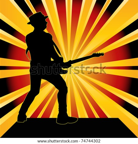 Guitarist Starburst Background - stock photo