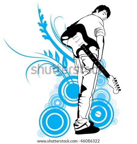 guitarist with electric guitar illustration - stock photo