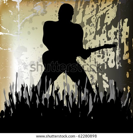 Guitarista Bitmap Background; Guitarist illustration playing to a cheering audience - stock photo