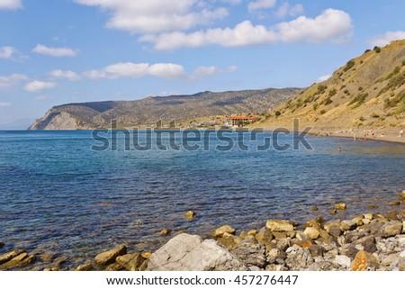 Gulf, cape and coast of the Black sea.Crimea. - stock photo
