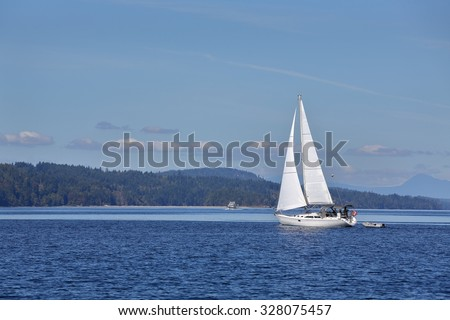 Gulf Islands Sailing, British Columbia. Sailing in the Gulf Islands of British Columbia near Victoria. - stock photo