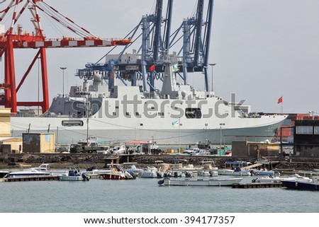 GULF OF ADEN, DJIBOUTI FEBRUARY 06, 2016: Chinese warship in the port of Djibouti  - stock photo