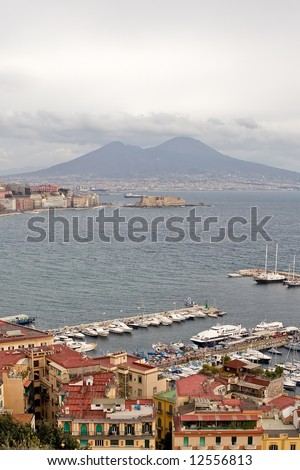 Gulf of Naples with mount Vesuvius in the background - stock photo