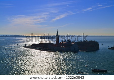 Gulf of Venice, Beautiful water street -evening view Venice, Italy - stock photo
