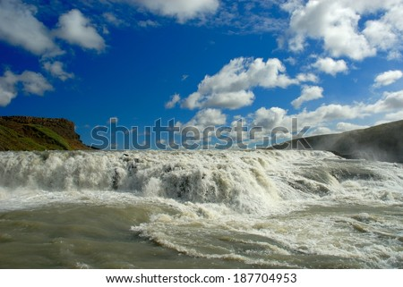 Gulfloss Waterfall in Iceland - stock photo