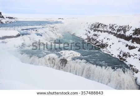 Gulfoss Golden Falls Waterfall in the winter, Iceland - stock photo