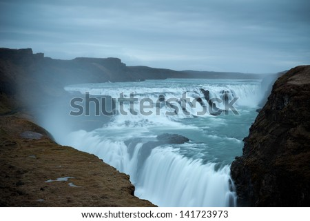Gulfoss waterfall , Iceland - stock photo