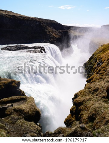Gullfoss Waterfall Iceland - stock photo