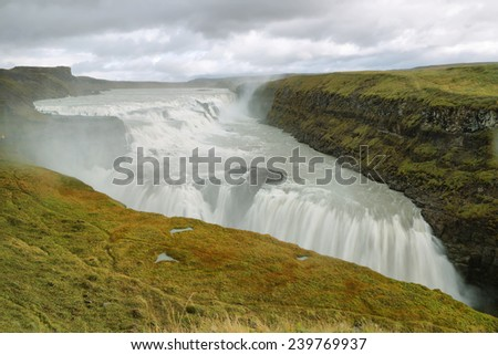 Gullfoss Waterfall  in the Golden circle of Iceland - stock photo