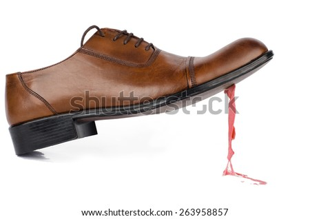Gum on the Shoe - stock photo