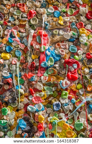 Gum Wall in Seattle, tourists from all over the world have come to stick chewing gum to a wall near Pikes Place Market, Washington - stock photo