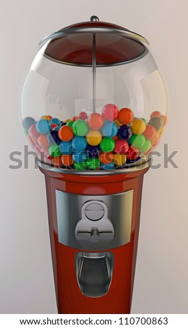 gumball machine old style with grenades inside isolated on white background - stock photo