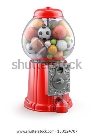Gumball machine with sport balls - stock photo