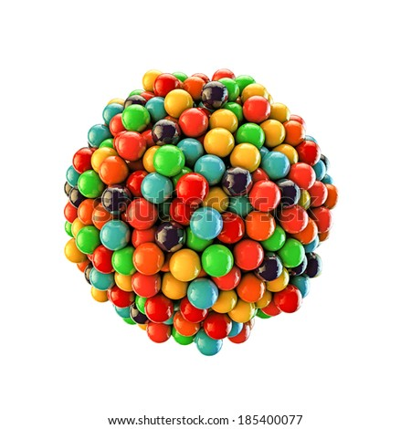 gumballs isolated on white background - stock photo
